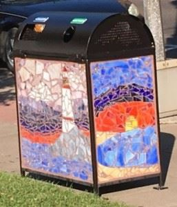 Mosaic on a Trash Can